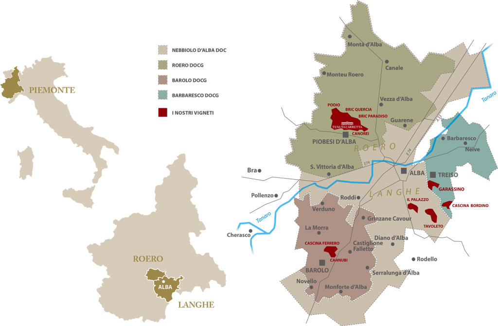 Mappa dei vigneti di Tenuta Carretta